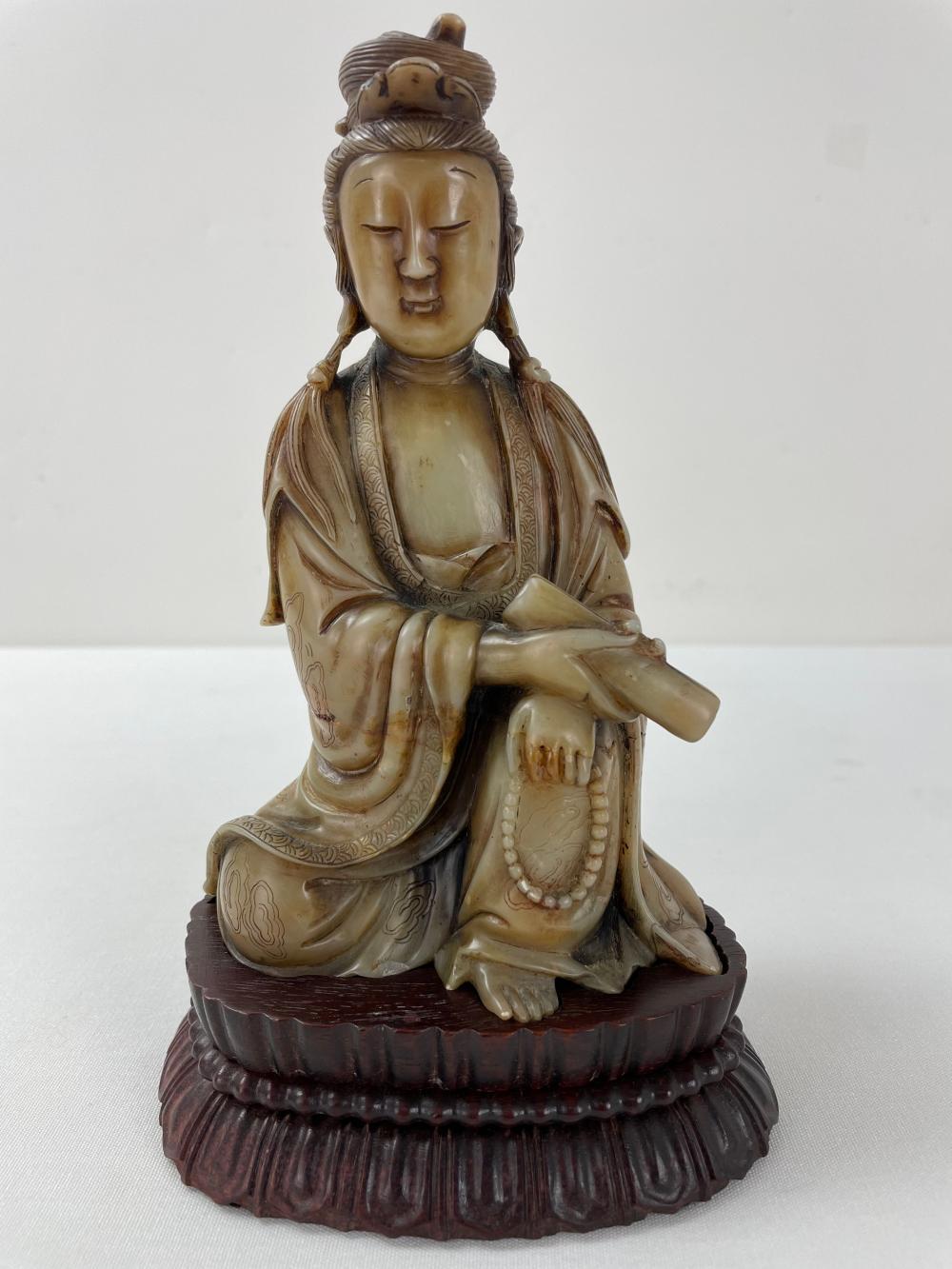 Chinese Carving Soapstone Figure of Guanyin Buddha