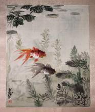 A Chinese Painting of Goldfish on Silk by Wang Yachen