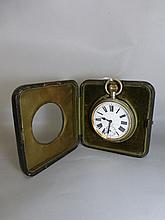 A large Swiss made eight day travel clock in the
