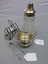 A small silver cream jug, a pair of Victorian
