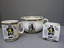 Three pieces of Quaker Oats branded ceramics
