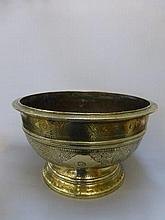 A 19th Century Chinese brass bowl, the engraved