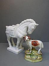 A marble model of a Tang style horse and a 19th