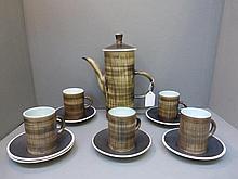 A Rye pottery five person coffee set.