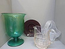 Four assorted pieces of glassware including a