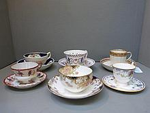 Six cabinet cups and saucers including a late