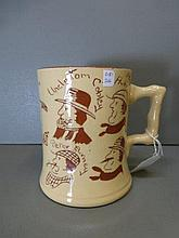A ceramic tankard decorated with a 'Who went to