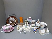 A collection of assorted crested ware also two pot