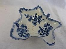 An early 19th Century blue and white leaf shaped