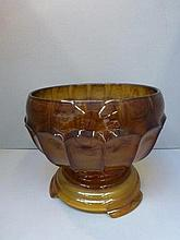 A Davidson cloud glass bowl on stand.