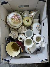 A box of assorted ceramics including Aynsley and a