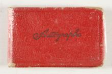 ALBUM - An oblong 12mo autograph album containing signatures of Stan Laurel, Oliver Hardy (on the same page), Charlie Chester, Malcolm Mitchell, Keith Warwick, Arthur English, Billy Cotton, Sally Davies and others.