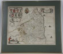 BLAEU, Jean (1596-1673). Comitatus Northumbria. Vernacule Northumberland. [Amsterdam: c. 1645]. Hand-coloured engraved map, baroque cartouches, coats-of-arms, galleons, 410 x 495mm., framed and glazed.