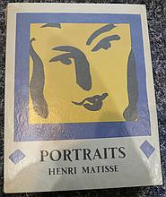 MATISSE, Henri (1869-1954). Portraits. Monte-Carlo: Andre Sauret, 1954. 4to. Half title, introduction by Henri Matisse, 60 monochrome portraits printed on both sides of the leaf and 33 coloured portraits by Matisse, tipped-in (lacks the original lithographed portrait frontispiece by Matisse). Unbound, as issued, in original portfolio, with an original lithographed portrait by Matisse, printed in blue, black and yellow, on the upper wrapper, slipcase. ONE OF 2,850 COPIES.