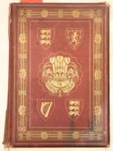 RUSSELL, William Howard (1820-1907). A Memorial of the Marriage of HRH Albert Edward Prince of Wales and HRH Alexandra Princes of Denmark. London: Day and Son, [1863]. Folio. Half title printed in green and black, chromolithographed title, 42 mounted chromolithographed plates of the ceremonies and bridal gifts by Robert Dudley, wood-engraved illustrations (some staining, a few short tears). Original red cloth decorated in gilt and blind (disbound, rubbed and stained, extremities rubbed). FIRST EDITION.