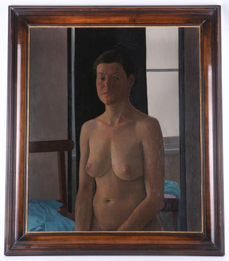 NICOLAS GRANGER-TAYLOR (BRITISH b.1963), '3/4 Length Nude', 1995, contemporary female figural study, signed and dated to verso, bears WFA Gallery label (canvas: 77cm x 64cm).