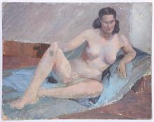 CIRCLE OF DUNCAN GRANT (BRITISH 1885-1978), 'RECLINING NUDE STUDY', mid 20th century, oil on board, unsigned, (60.5 x 76.5cm)