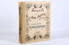 ALLEMAGNE, Henry Renè d?. Sports et Jeux d'Adresse. Paris: Hachette, 1903. Folio, 29 full-page hand-coloured plates, 100 full-page engravings and lithographs (occasional spotting). Original publisher?s cartonnage, illustrated in the art nouveau style, marbled pastedowns (soiled and rubbed, re-backed preserving original material from the spine). A history and iconography of sports and games of childhood. FIRST EDITION.