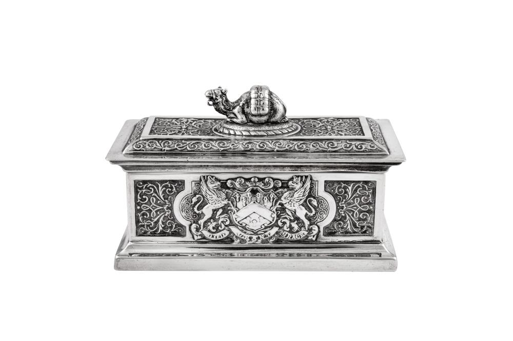 A Victorian sterling silver commemorative box, London 1897 by John Marshall Spink (Spink & Son)