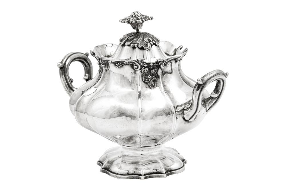 A mid-19th century Italian 950 standard silver covered twin handled sugar bowl, Turin circa 1840 by Carlo Balbino