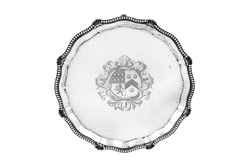 A Victorian sterling silver waiter or small salver, London 1898 by Charles Boyton
