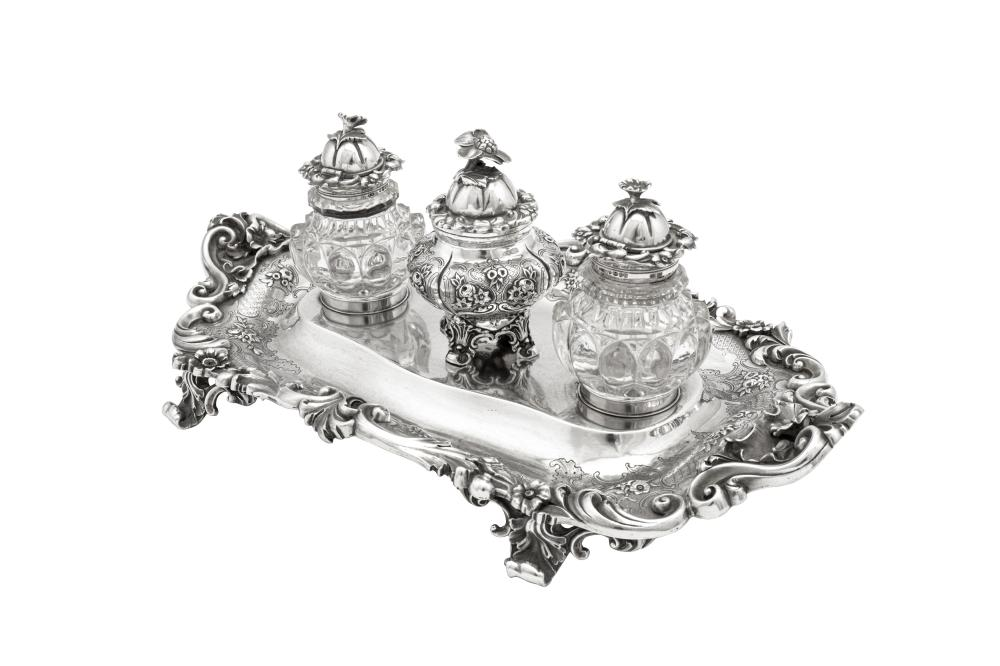 A Victorian sterling silver inkstand, London 1843 by Robert Hennell III