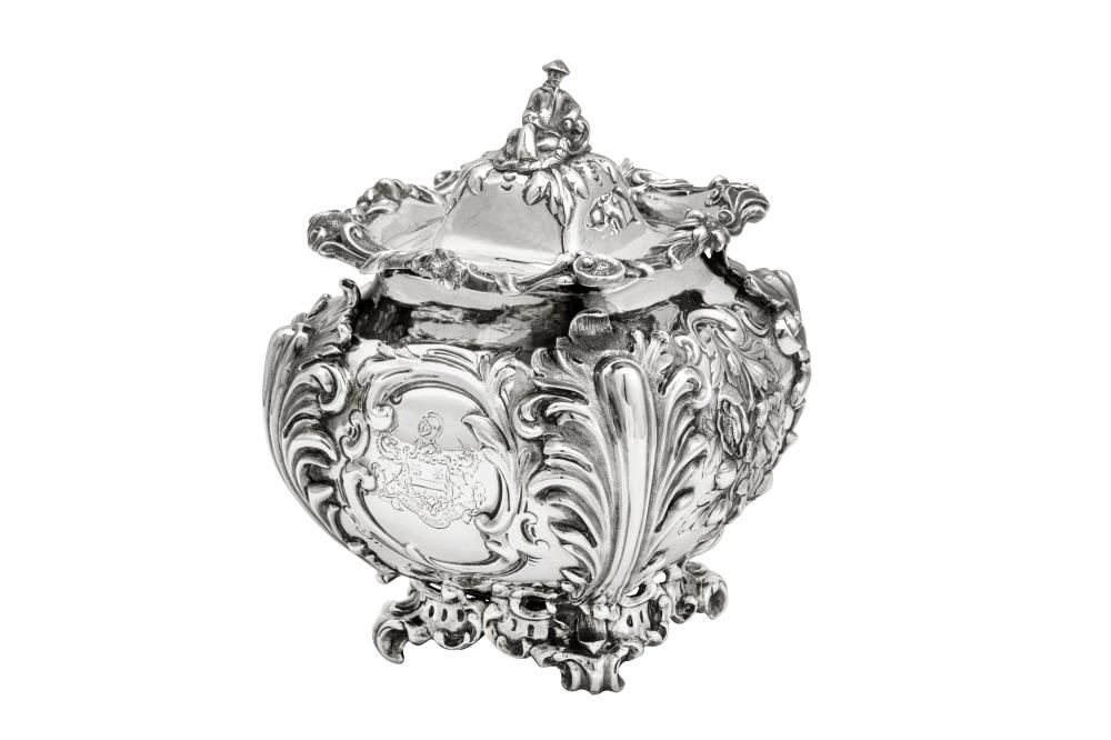 A large and unusual Victorian sterling silver tea caddy or biscuit box, London 1844 by John Edward Terry