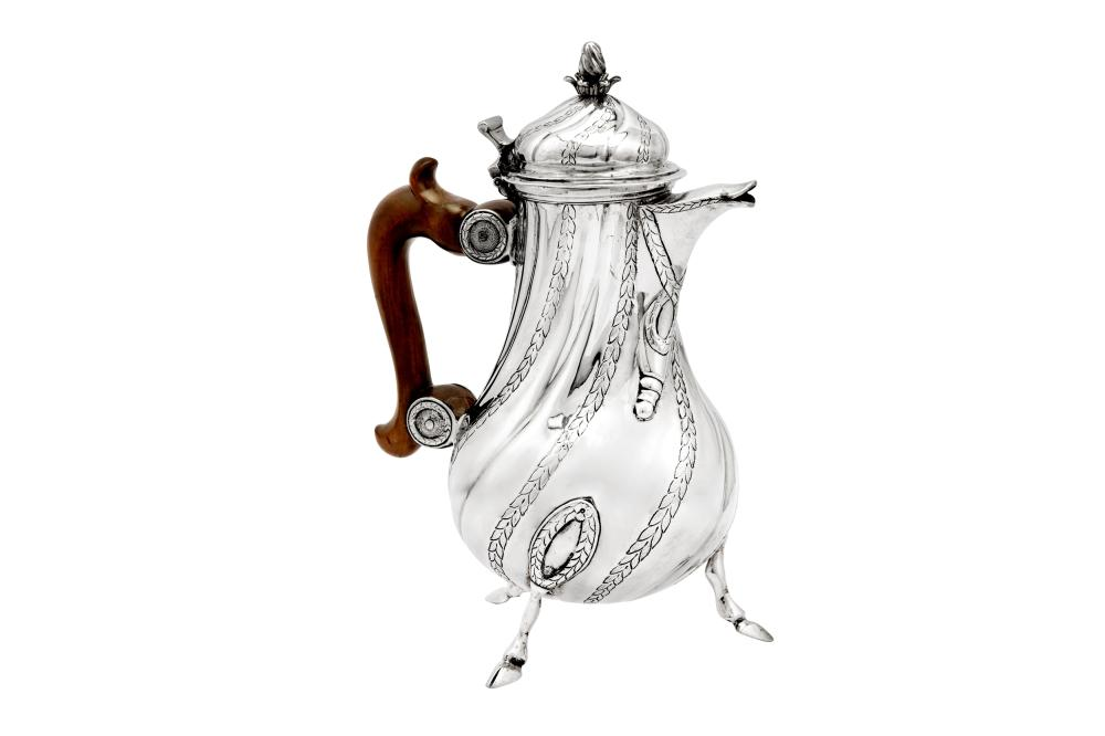 A late 18th century Maltese silver coffee pot, Valetta circa 1775-80 by Giovanni Arrotin (reg. 1742)