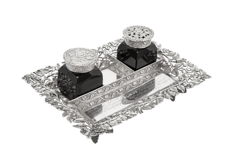 An early Victorian sterling silver small inkstand, Birmingham 1838 by Joseph Wilmore