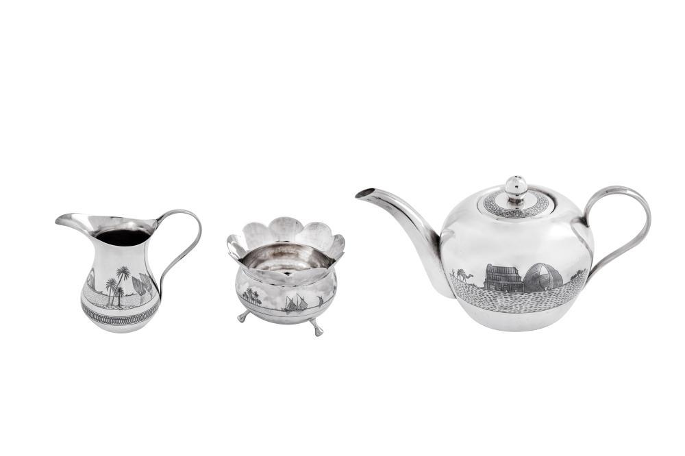 A good early 20th century Iraqi silver and niello three-piece bachelor tea set, probably Basra circa 1930