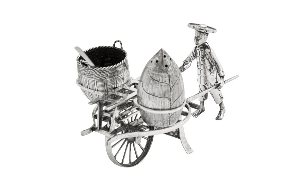 A late 19th / early 20th century Chinese Export silver novelty cruet, Shanghai circa 1900, retailed by Tuck Chang
