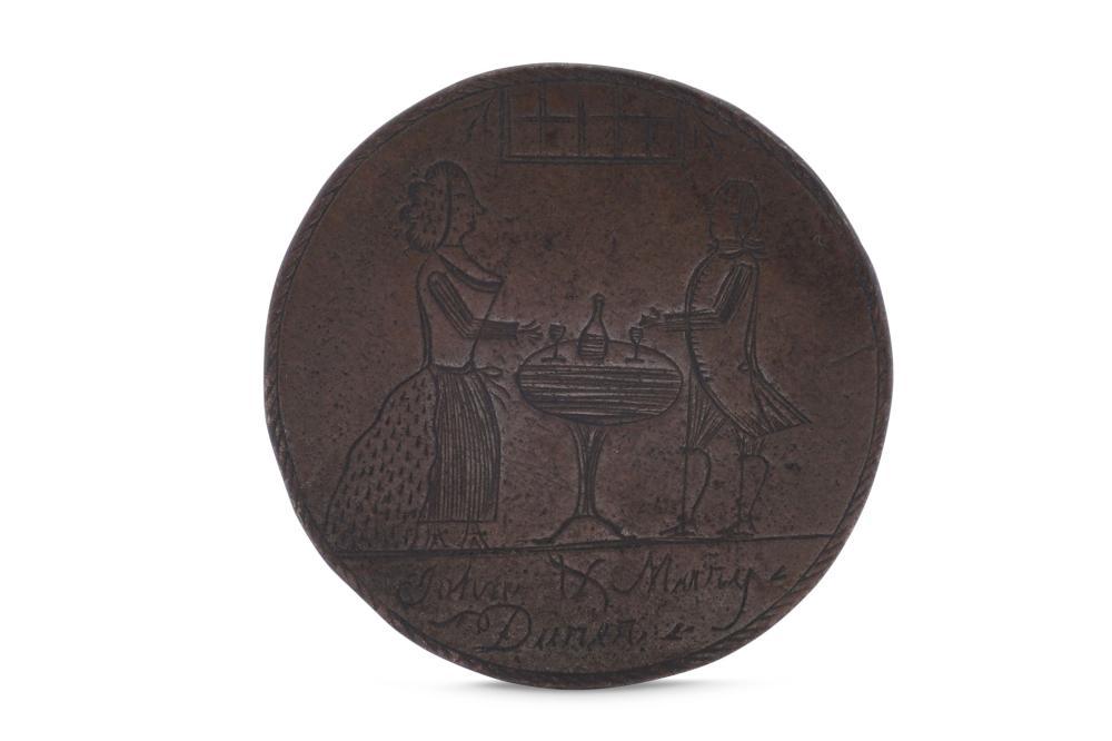 A late 18th century engraved English love token, circa 1785