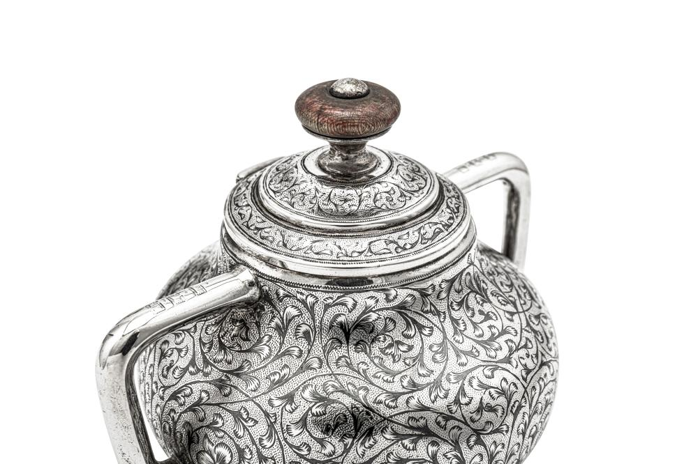 An Alexander III late 19th century Russian 84 zolotnik silver and niello bachelor coffee set, Moscow 1888 by Gustav Klingert (active 1865-1917)