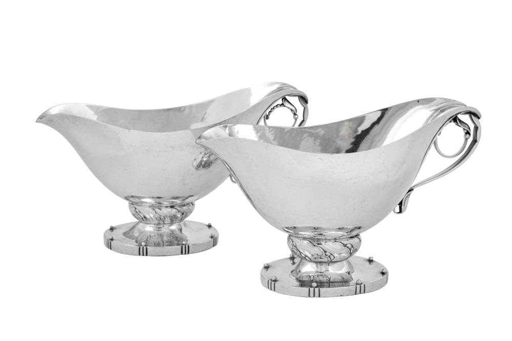 A pair of mid to late 20th century Danish sterling silver sauceboats, Copenhagen post-1945 by Georg Jensen