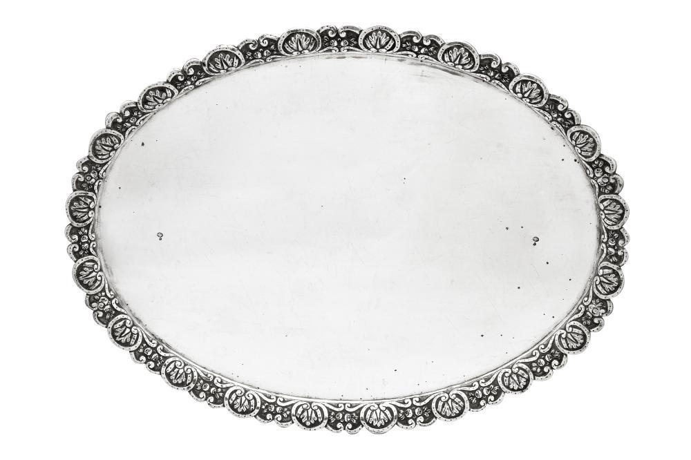 A large mid- 19th century Ottoman Turkish 900 standard silver tray, Tughra of Sultan Abdul Mecid (1844-1861)