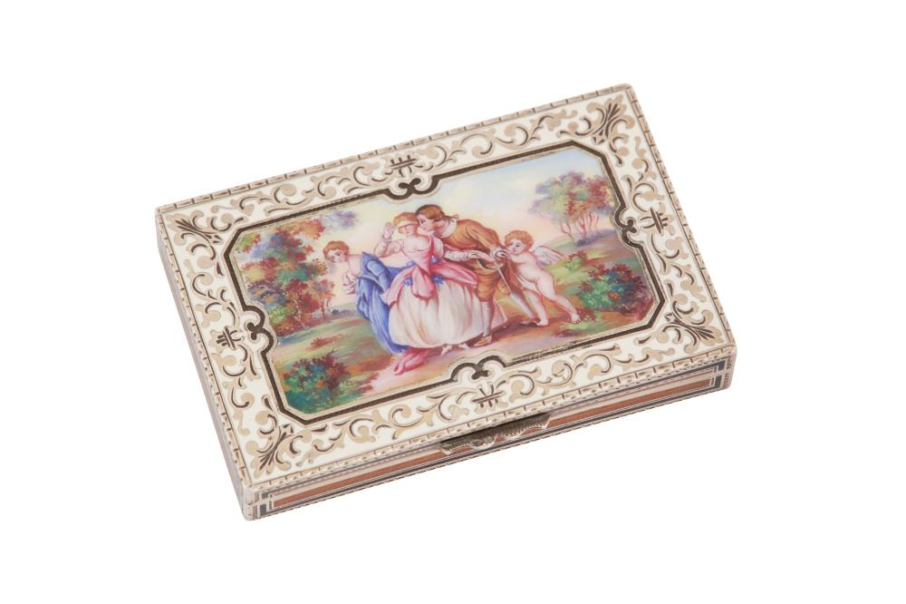 An early 20th century continental 935 standard silver gilt and enamel cigarette case, German or Swiss with import marks for London 1926 by T C & Son Ltd
