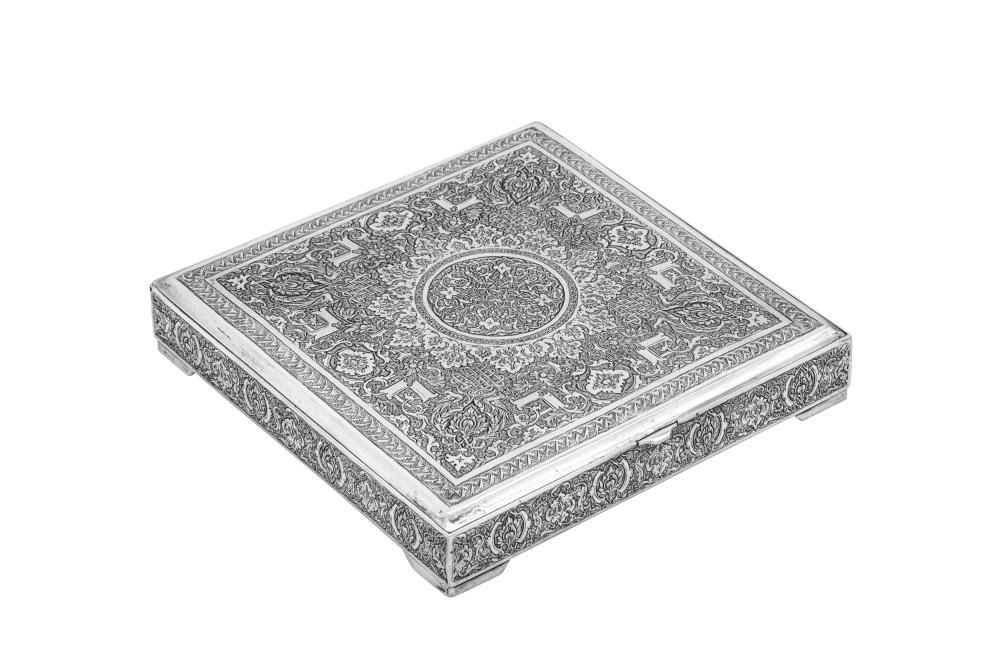 A mid-20th century Iranian (Persian) silver cigarette or confectionary box, Isfahan circa 1950 mark of Reza, retailed by Ja'Fari