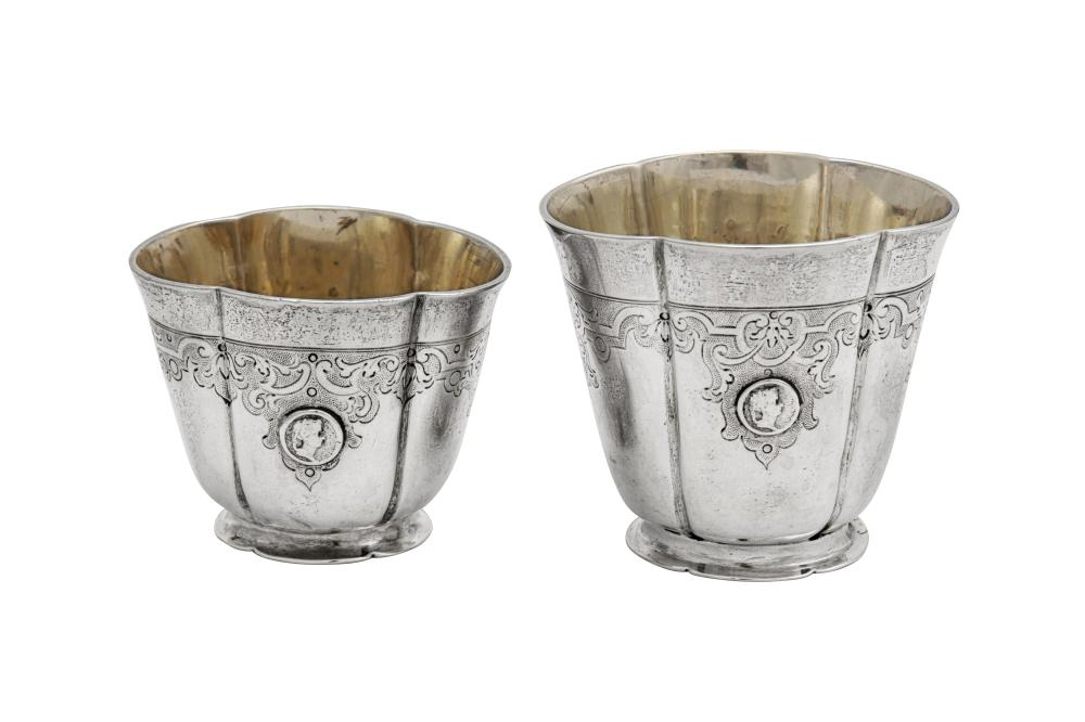 A graduated pair of early 18th century German silver stacking beakers, Augsburg 1723-35 by Johann Ulrich Jebenz (died 1742)