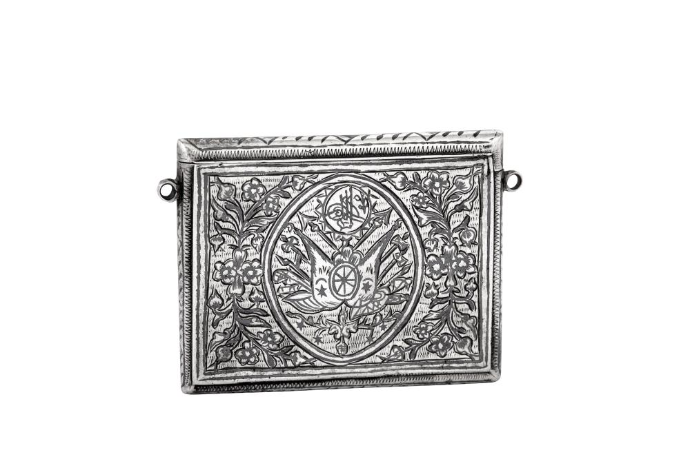 A late 19th century Armenian unmarked silver and niello Quran box / case (Ta'wiz/Muska), Van circa 1880