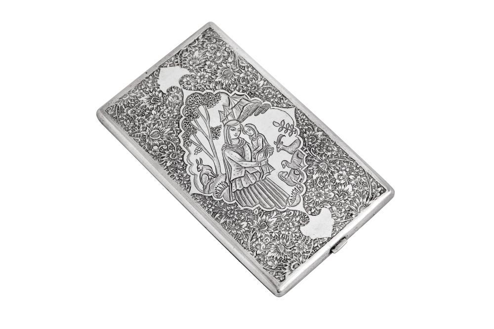 A mid-20th century Iranian (Persian) silver cigarette case, Isfahan circa 1940 mark of Fadavi
