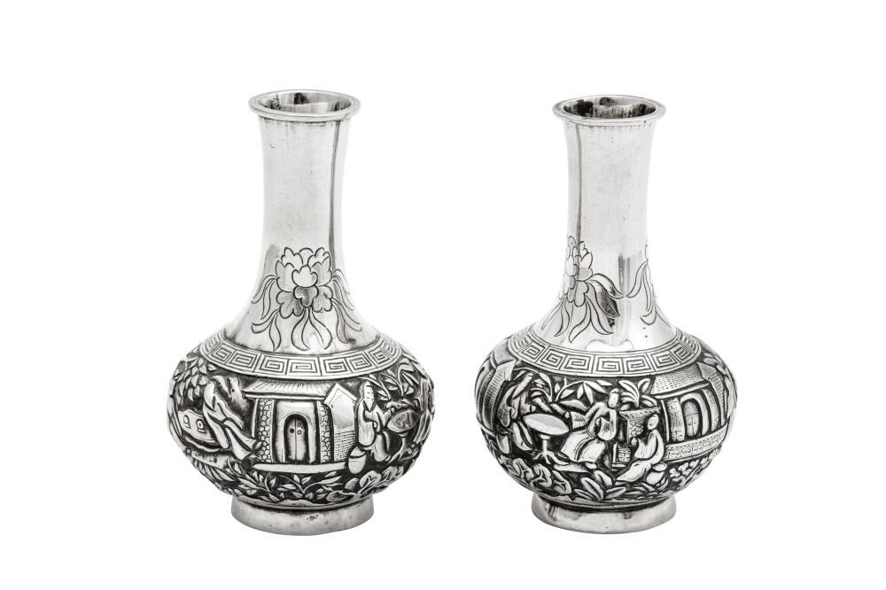 A pair of late 19th / early 20th century Chinese Export silver miniature vases, Canton circa 1900, retailed by Wang Hing