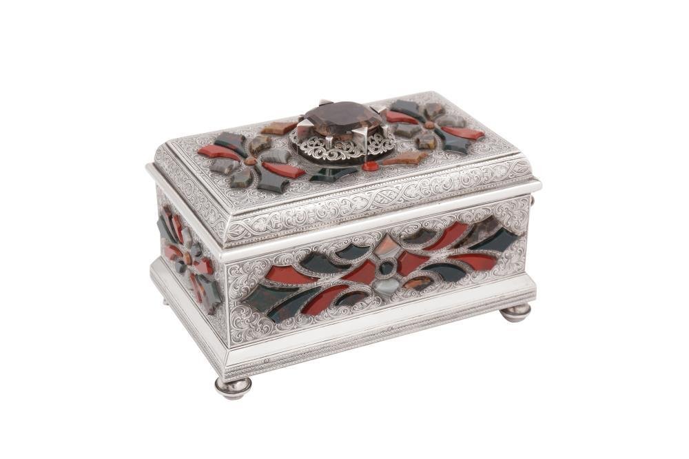 An early 20th century Scottish unmarked silver agate set casket, Edinburgh circa 1925