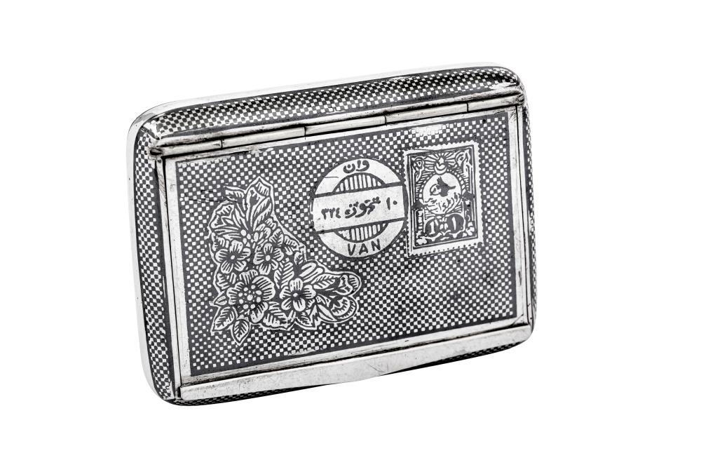 A late 19th century Armenian 900 standard silver and niello tobacco box, Van circa 1880