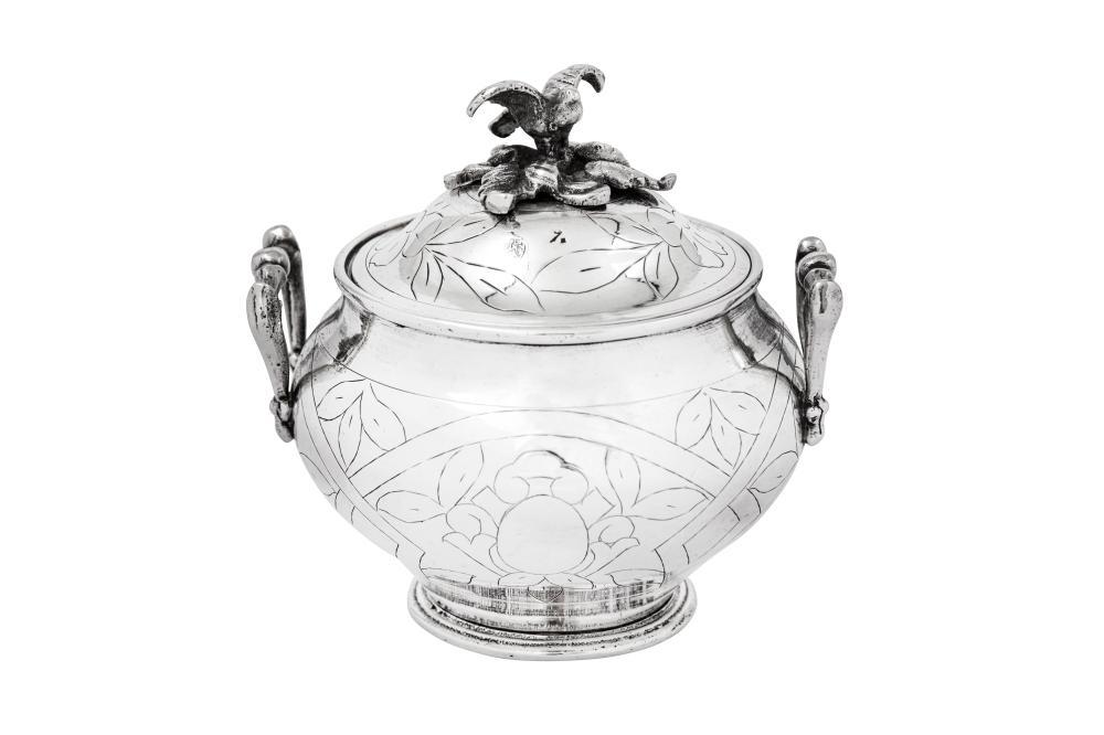 A rare late 19th century Egyptian silver covered sugar bowl (sucrier), probably Cairo circa 1880 by Nisan Karanbogosyan