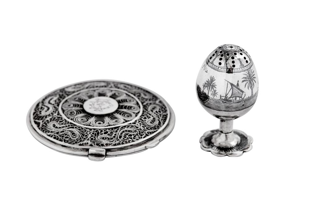 A mid-20th century Iraqi silver, filigree and niello compact, Basra or Omara circa 1950 signed Mansour
