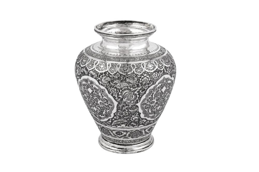 An early 20th century Iranian (Persian) silver vase, Isfahan circa 1930-40