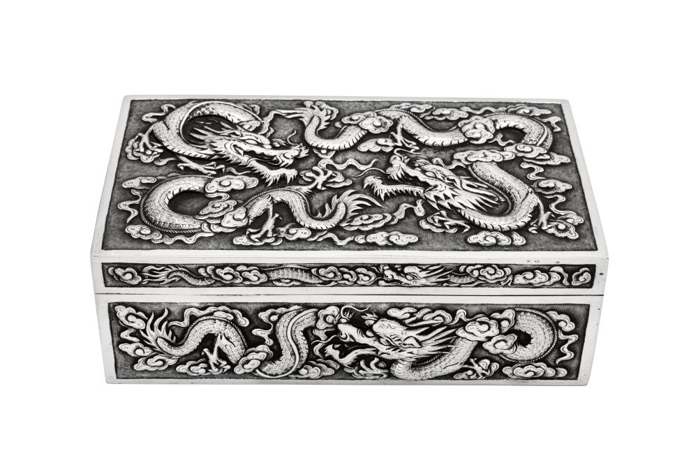 A late 19th / early 20th century Chinese Export silver box or casket, Shanghai circa 1900 retailed by Luen Wo