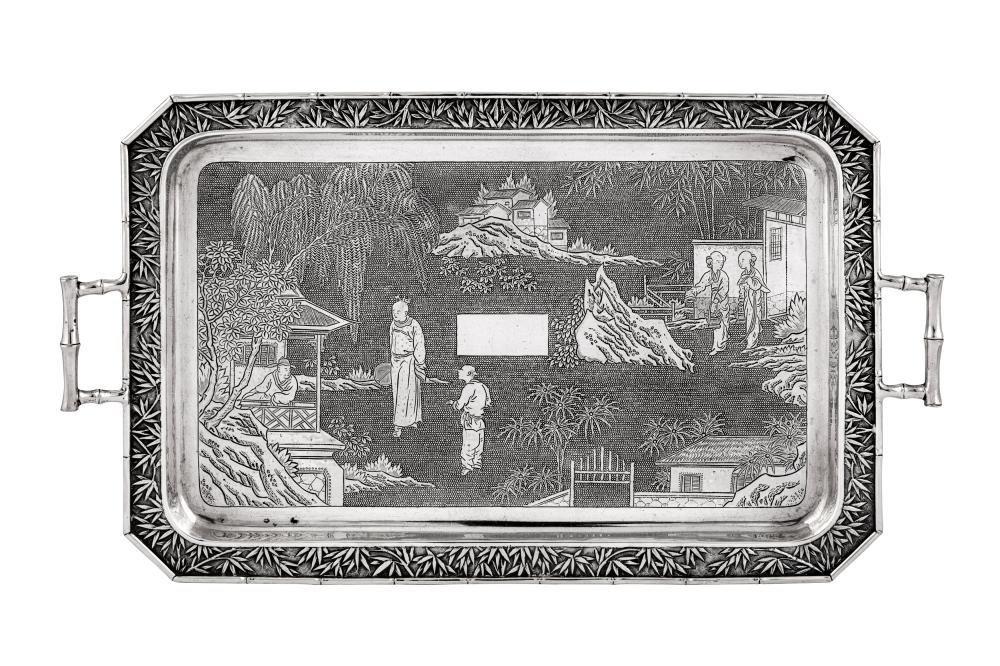 A late 19th century Chinese Export silver twin handled tray, Canton circa 1890 retailed by Wang Hing