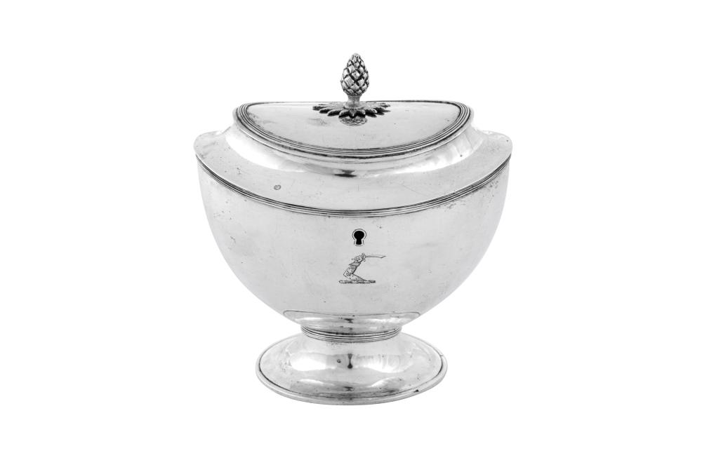 A late 18th century Dutch silver tea caddy, Amsterdam 1793 by RK?, retailed by Willem Diemont (1767-1842)