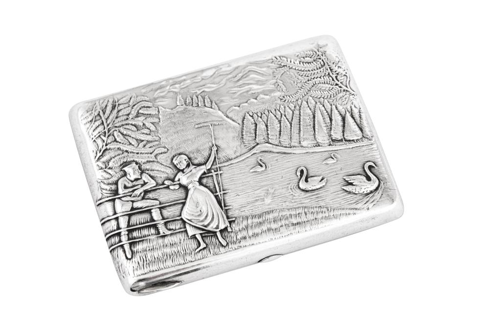 A Nicholas II early 20th century Russian 84 zolotnik silver cigarette case, Moscow 1908-26 by ГE (untraced)